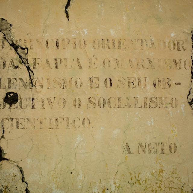 """""""Old Communist Propaganda Message Written On A Wall, Bilaiambundo, Angola"""" stock image"""