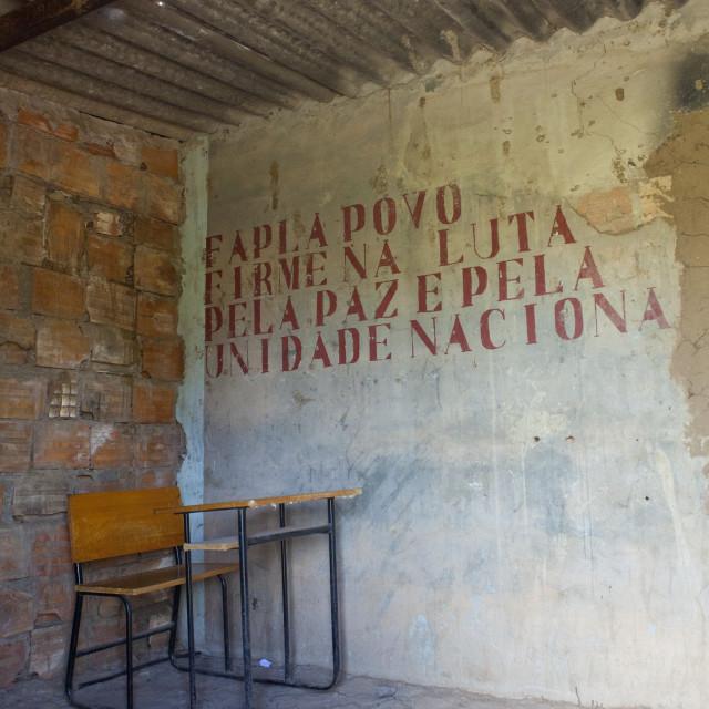 """""""School Desk In A Classroom, Bilaiambundo, Angola"""" stock image"""