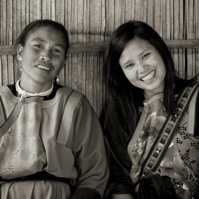 """""""Lisu tribe women smiling, Ban nam rin village, Thailand"""" stock image"""