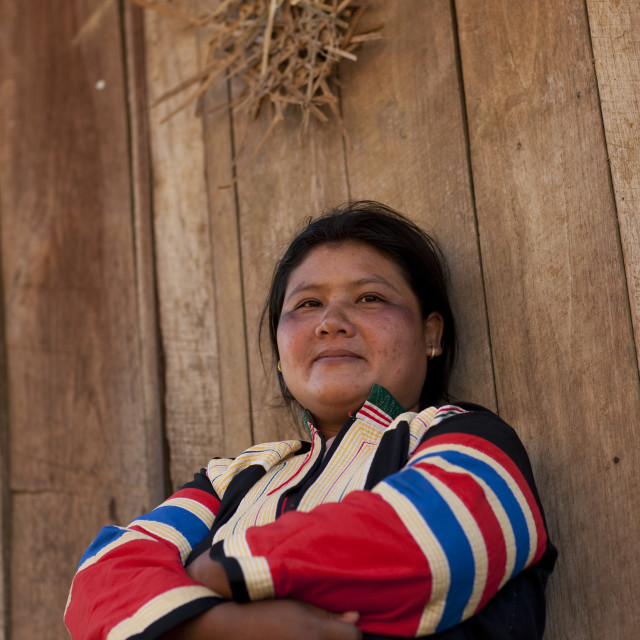 """""""Miss na kue, Lahu woman in traditional clothes for new year, Ban bor kai..."""" stock image"""