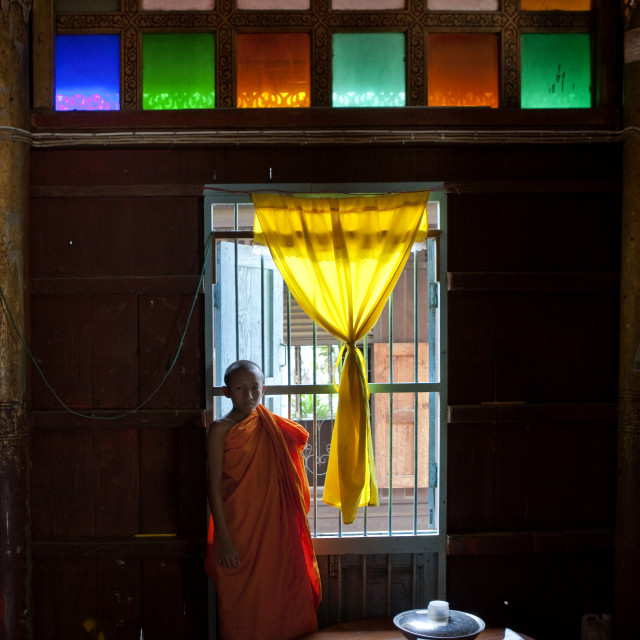 """""""Monk in mae hong son temple, Thailand"""" stock image"""