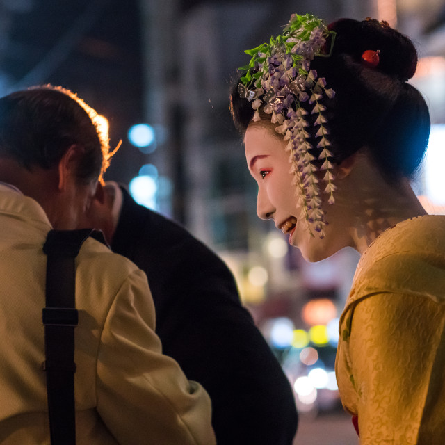 """""""Geisha with business men in the streets of gion, Kansai region, Kyoto, Japan"""" stock image"""