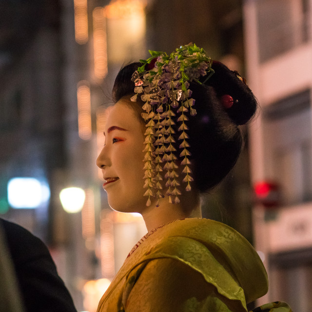 """Geisha in the streets of gion, Kansai region, Kyoto, Japan"" stock image"