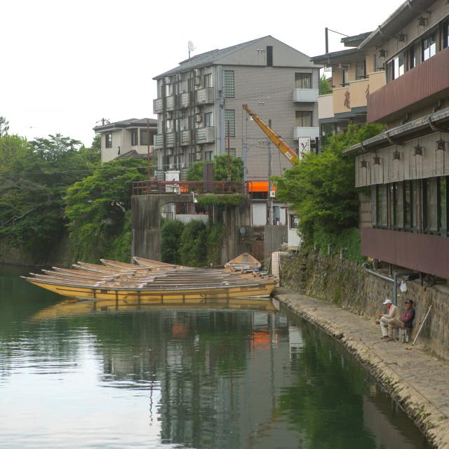 """""""Fishermen on hozu river, Kansai region, Arashiyama, Japan"""" stock image"""