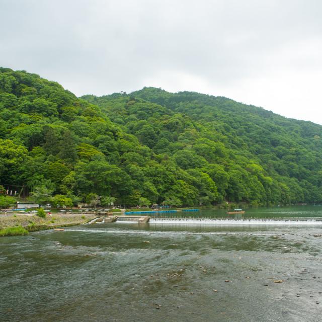 """""""Hozu river, Kansai region, Arashiyama, Japan"""" stock image"""
