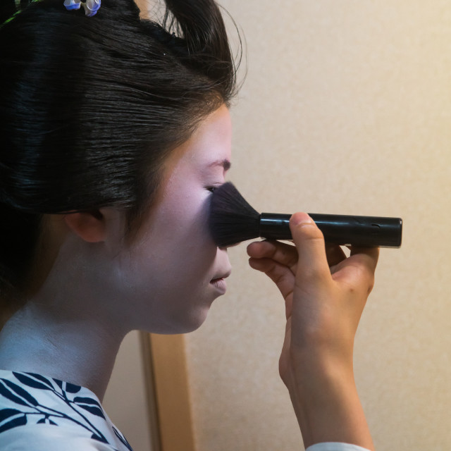 """16 Years old maiko called chikasaya during a make up session, Kansai region,..."" stock image"