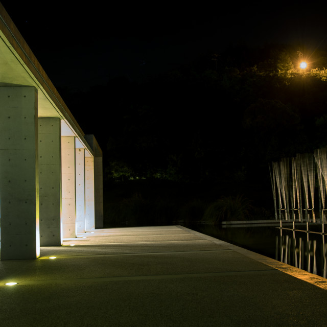 """Wooden installation art in Benesse house, Seto Inland Sea, Naoshima, Japan"" stock image"