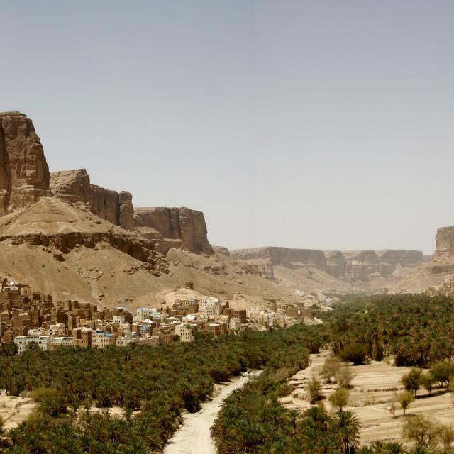 """""""Panorama Of Wadi Doan, Hadhramaut, Yemen"""" stock image"""