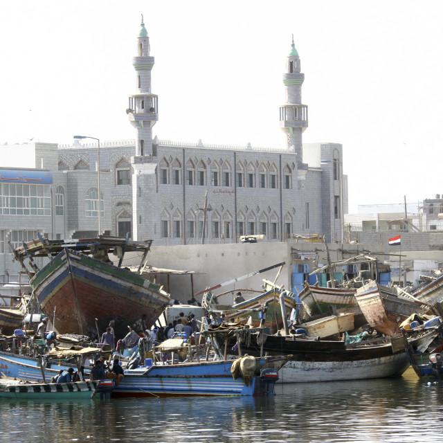 """View Of The White Mosque And Of The Dhows In Al Hodeidah Harbour, Yemen"" stock image"