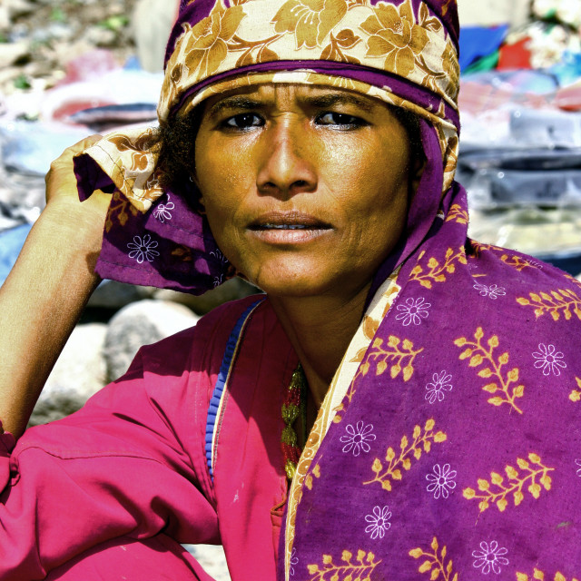 """Strong Eyed Yemeni Woman Dressed In Bright Colours, Taiz, Yemen"" stock image"