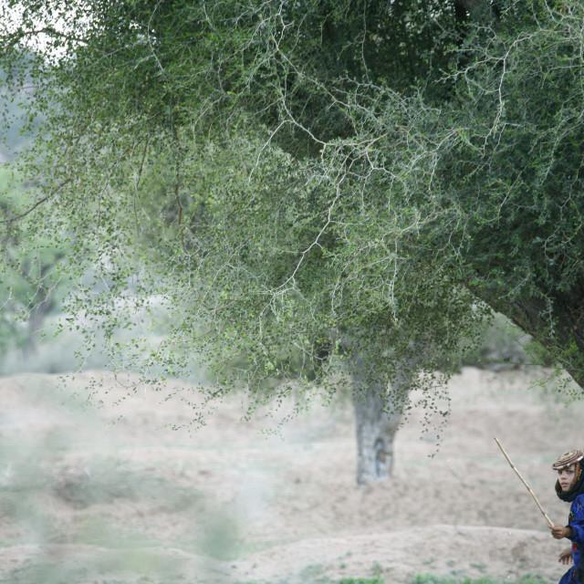 """SHAHARA GIRL WITH TRADITIONAL HAT, YEMEN"" stock image"