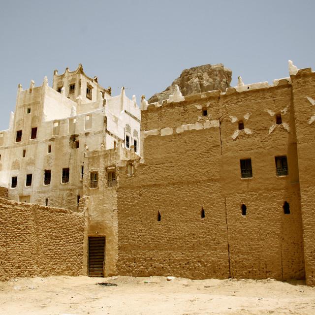 """View Of A Traditional Adobe House, Hadramaut, Yemen"" stock image"