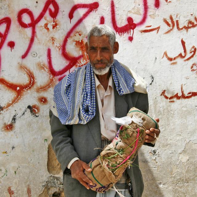 """Qat Seller Holding A Bag Of Qat, Seiyun, Yemen"" stock image"
