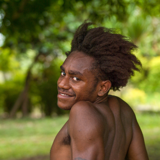 """""""Portrait of a Ni-Vanuatu young man with tattoos on the arms, Malampa..."""" stock image"""