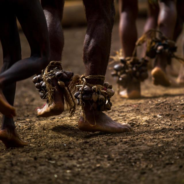 """Tribesmen dancing the palm tree dance of the Small Nambas tribe, Malekula..."" stock image"