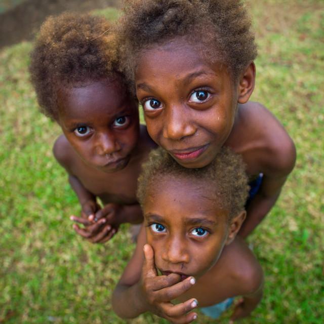 """Group of Ni-Vanuatu children seen from above, Malampa Province, Malekula..."" stock image"