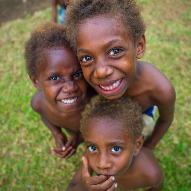 """""""Group of smiling Ni-Vanuatu children seen from above, Malampa Province,..."""" stock image"""