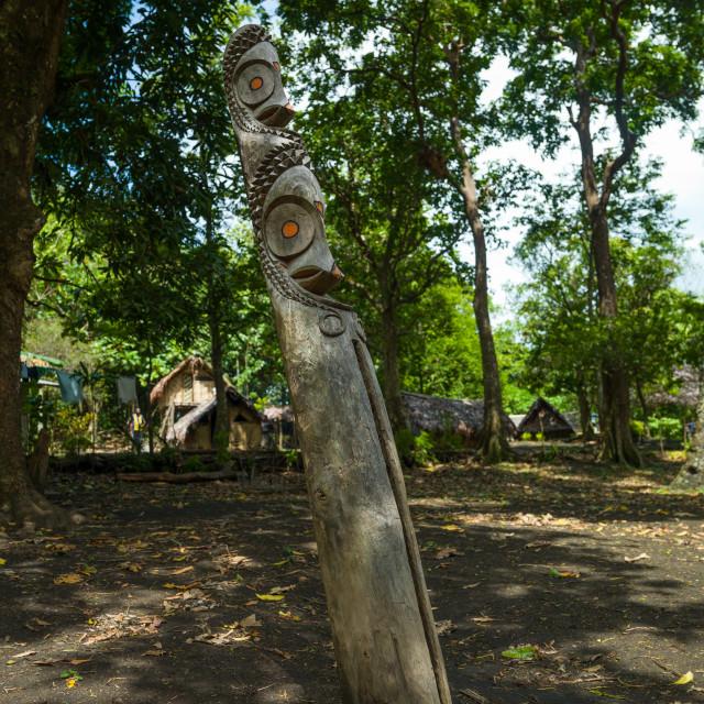 """Double headed slit gong drum in a village, Malampa Province, Fanla, Vanuatu"" stock image"