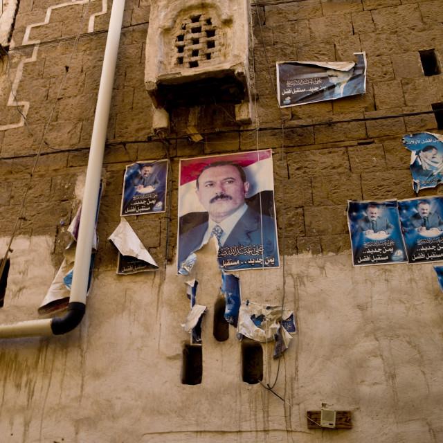 """Poster Of Former Yemen President Ali Abdallah Saleh, Sanaa, Yemen"" stock image"