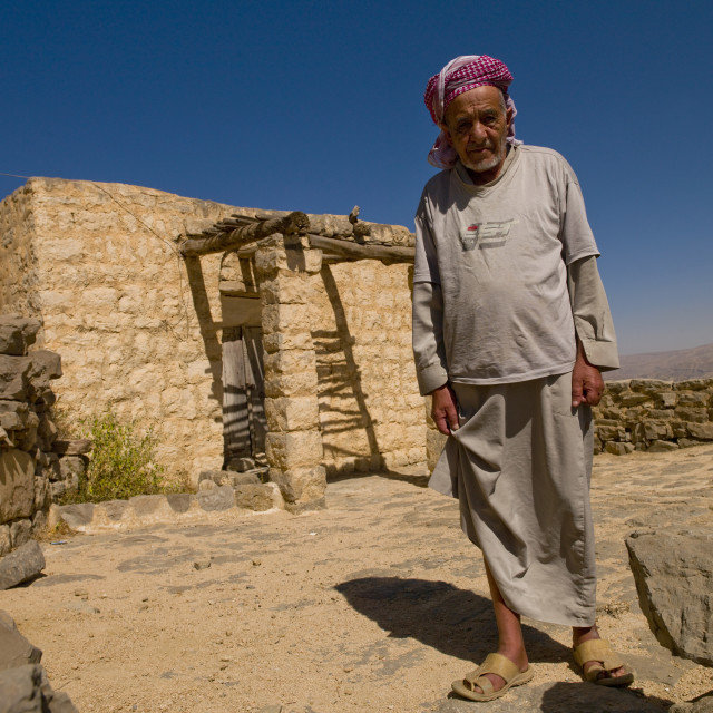 """Iman In Front Of The Old Mosque In Kholan, Yemen"" stock image"