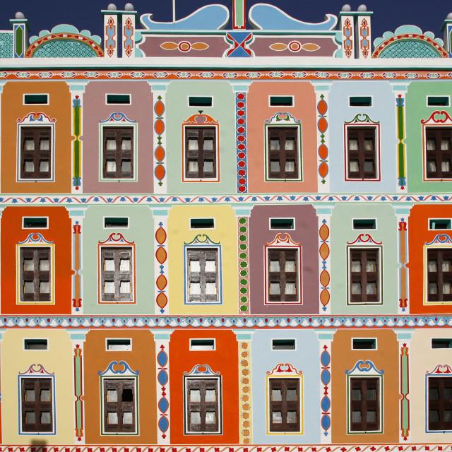 """Colourful Buqshan Khaila Hotel, Wadi Doan, Hadramaut, Yemen"" stock image"