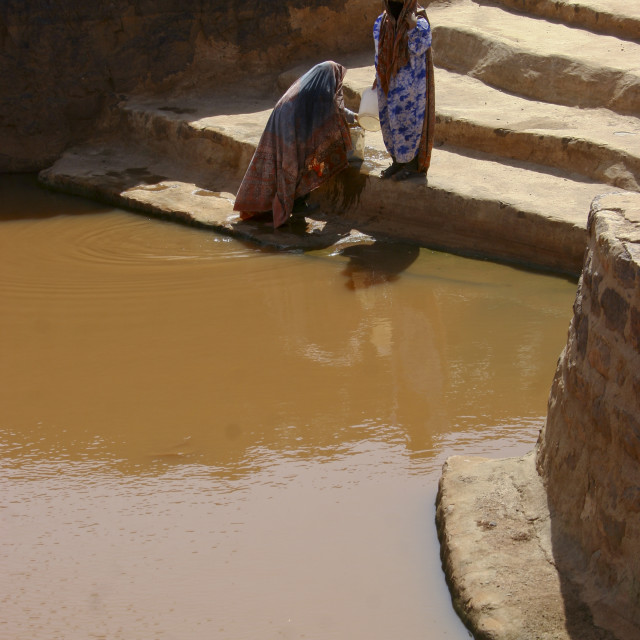 """Women Fetching Water At The Cistern, Ina, Yemen"" stock image"