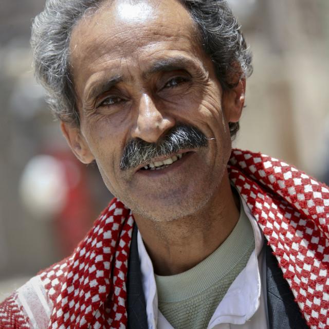 """Smiling Yemeni Man, Sanaa, Yemen"" stock image"