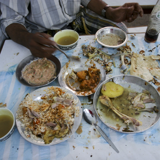"""Remains Of A Traditonal Yemeni Meal In A Restaurant, Sanaa, Yemen"" stock image"