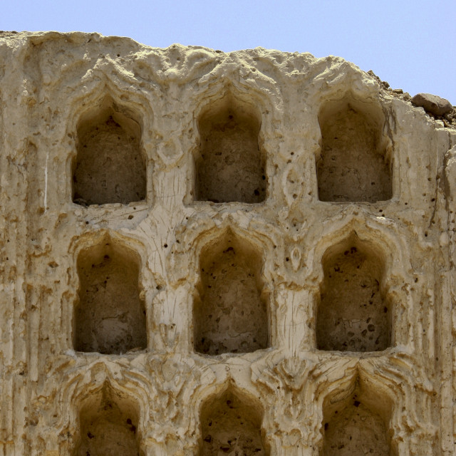 """Remains Of The Sculpted Front Of A House, Mocha, Yemen"" stock image"