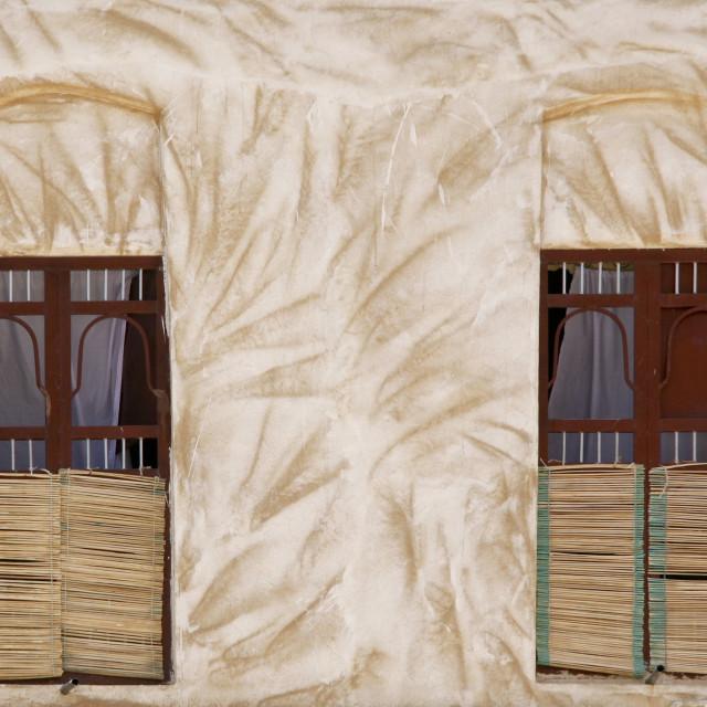 """Straw Curtains And Scratched-like Wall, Hadramaut, Yemen"" stock image"