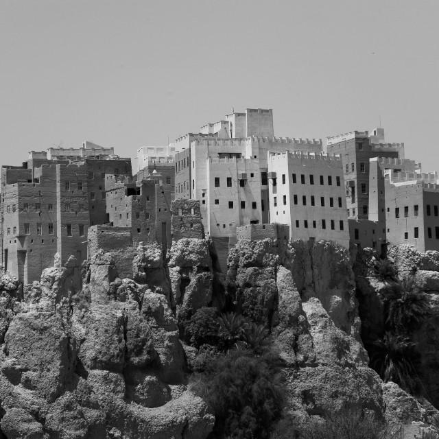 """Adobe And Painted Buildings, Al Hajjarin Village,, Wadi Doan, Yemen"" stock image"