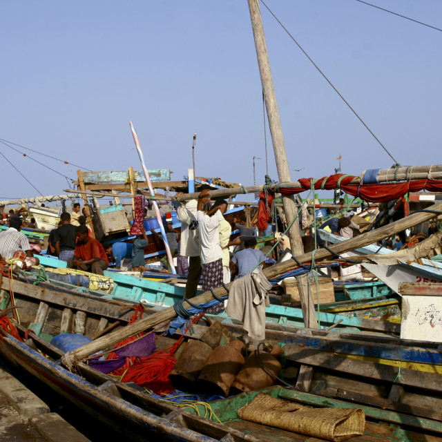 """Fishermen And Their Dhows In Al Hodeidah, Yemen"" stock image"