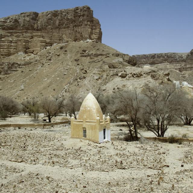 """""""Muslim Tomb Down The Cliff, Wadi Doan, Yemen"""" stock image"""