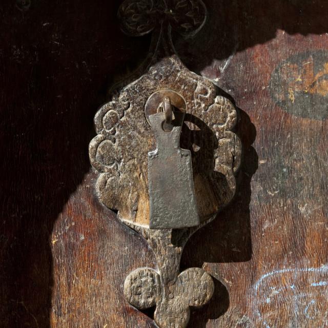 """""""Iron Door Knocker On A Wooden Door, Sanaa, Yemen"""" stock image"""