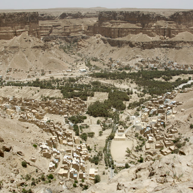 """Aerial View Over Houses In An Oasis, Wadi Doan, Yemen"" stock image"