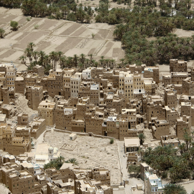 """""""Aerial View Over Houses In An Oasis, Wadi Doan, Yemen"""" stock image"""