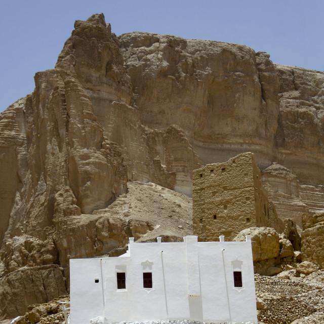 """Traditional White Painted Building In Hadramaut, Yemen"" stock image"
