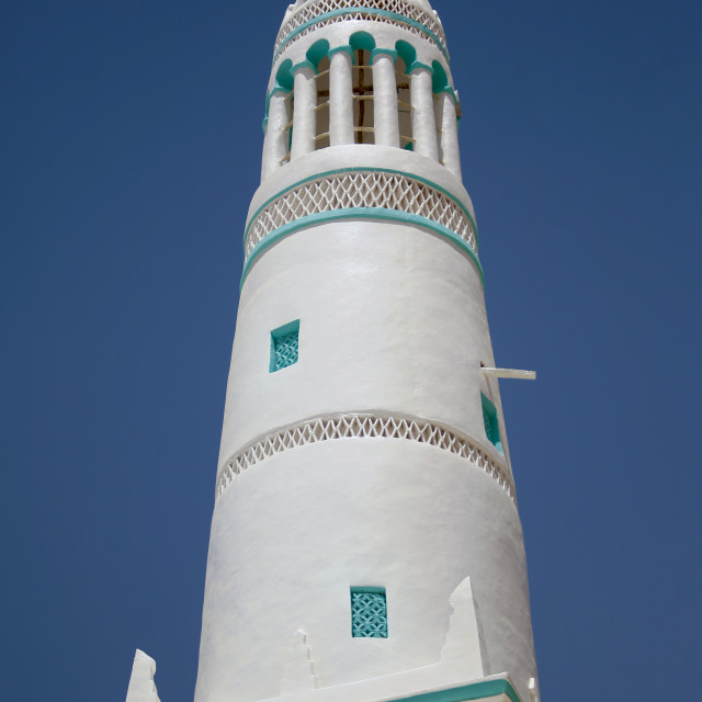 """""""Green And White Painted Minaret, Hadramaut, Yemen"""" stock image"""