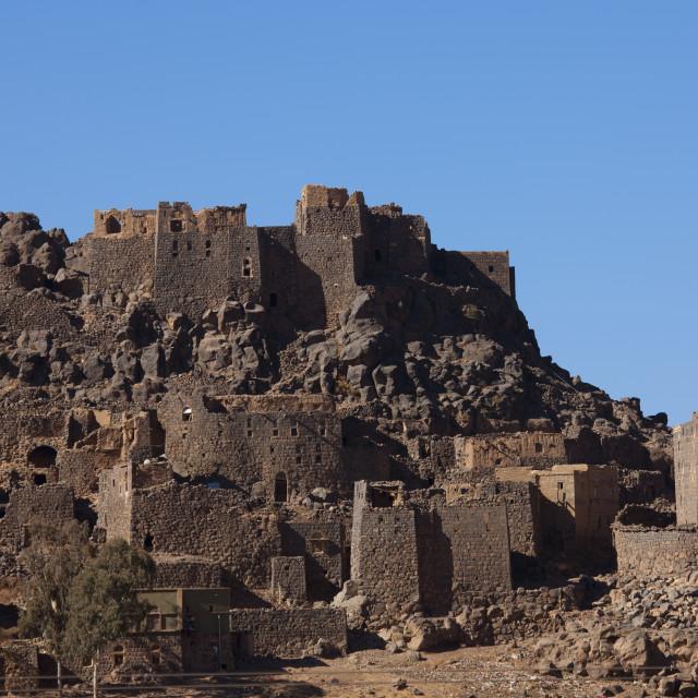"""""""Village Merging With The Mountain Near Sanaa, Yemen"""" stock image"""