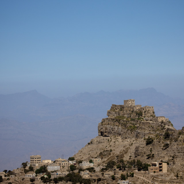 """Village Posted On The Top Of A Mountain, Yemen"" stock image"