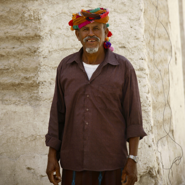 """""""Old Man Wearing A Colourful Turban With Bobbles, Hadramaut, Yemen"""" stock image"""