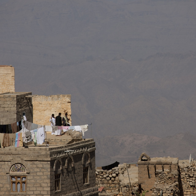 """""""Clothes Hung To Dry On A Roof, Kholan Village, Yemen"""" stock image"""