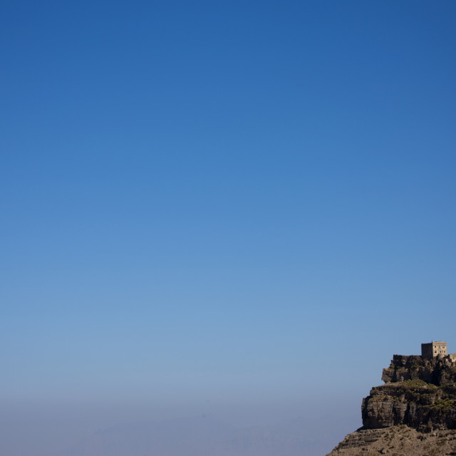 """Kholan Mountain Village Under The Blue Sky, Yemen"" stock image"