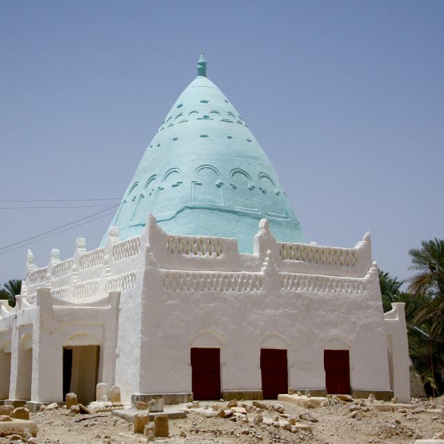 """""""Muslim Tomb With Light Blue Cone Roof, Tarim, Yemen"""" stock image"""