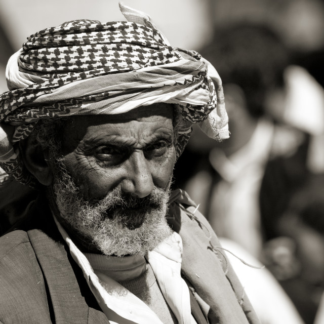 """Black And White Portrait Of An Old Man In Thula, Yemen"" stock image"