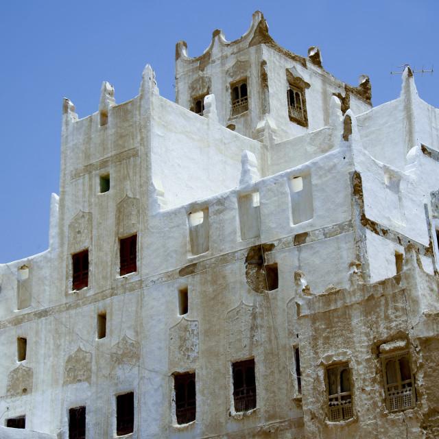 """""""Old White Painted Palace, Hadramaut, Yemen"""" stock image"""