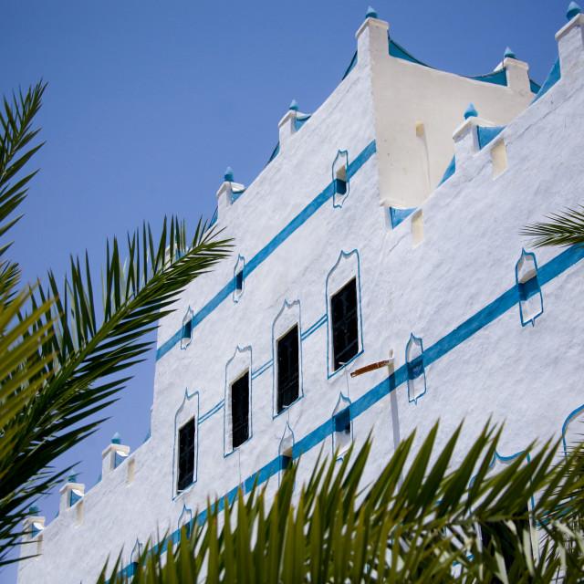 """White Al Hawatha Hotel Decorated With Light Blue Paintings, Shibam, Yemen"" stock image"