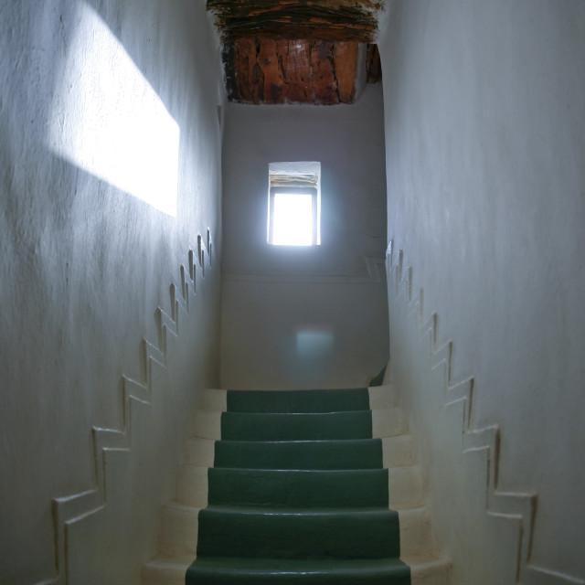 """White And Green Painted Stairs In Al Hawatha Hotel, Shibam, Yemen"" stock image"