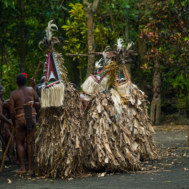 """""""Rom dance masks and giant slit drum during a ceremony, Ambrym island, Fanla,..."""" stock image"""