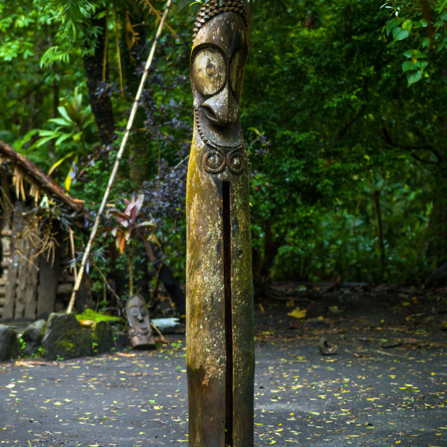 """""""Slit gong drum in front of a nakamal in the jungle, Ambrym island, Olal, Vanuatu"""" stock image"""